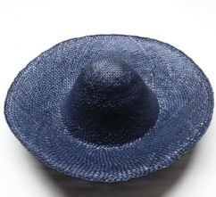 Large Vintage French Navy Blue Wheatstraw Milliner's Capeline
